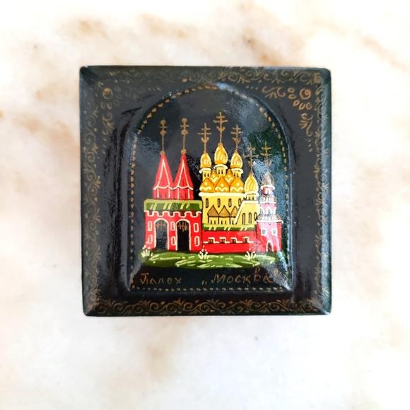 Russian Fairy Tale Small Black Laquer Trinket Box